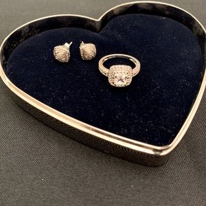 Kay Jewelers White Sapphire Ring/Earring Set